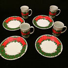Vintage 1976 Fitz and Floyd Holly Wreath Mugs and Cake Plates for Christmas