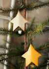 Star Bell Ornaments Set of Two - Christmas Distressed Metal Gold Yellow Holiday
