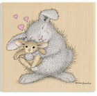 New House Mouse Happy Hoppers LOVE BUNNY Wood Rubber Stamp Heart Baby Hug Mother