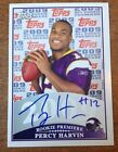 2009 Topps NFL Rookie Premiere Percy Harvin AUTO RC On Card Autograph