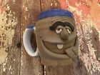 Vintage Pottery Art Ugly Face Man Coffee Mug Stoneware Signed by Artist
