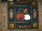 PRIMITIVE WOOL PENNY RUG PATTERN WALL QUILT PUMPKIN CROW ACORN SUNFLOWER NEW