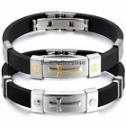 Mens Boys Stainless Steel Cross ID Black Rubber Cuff Bangle Bracelet Wristband