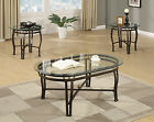 3PC Glass Oval Top Bronze Metal Base Gold Sphere Coffee End Occasional Table Set