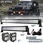 50 + 24Inch LED LIGHT BAR +4X 4INCH CREE WORK PODS OFFROAD SUV 4WD FORD JEEP 52