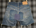 VINTAGE ORIGINAL LEVIS 501 JEANS CUT OFF SHORT DENIM SELVEDGE W24 PATCHWORK