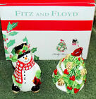 FITZ & FLOYD Christmas HOLLY BERRY SNOWMAN Salt & Pepper Shakers New in Box