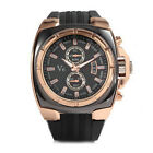 V6 Rose Gold Oversized Industrial Big Dial Black Silicone Men Watch Gift Box NIB