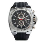V6 Silver Oversized Industrial Big Dial Black Silicone Mens Watch Gift Box NIB