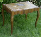 vintage Hollywood Regency style scalopped side table with inlaid leather top
