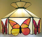 TIFFANY STYLE BUTTERFLY STAINED GLASS LAMP VINTAGE 1970s PENDANT CEILING LIGHT