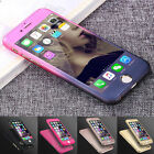 Ultra Thin 360 Full Body Protective Case For iPhone Models Tempered Glass