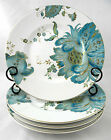 222 FIFTH ELIZA TEAL SET OF 4 LUNCH DESSERT PLATES TEAL  GOLD BRAND NEW