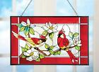 Colorful Stained Glass Cardinal Suncatcher 10H w 8 Hanging Chain Glass Iron