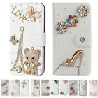 US Luxury Bling Crystal Diamond Cute PU Leather Wallet Case Cover for LG phones