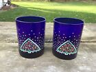 2 Dansk Winterfest Cobalt Blue 12 Oz Double Old Fashioned Glasses Christmas Tree