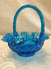FENTON COLONIAL BLUE GLASS CRIMPED RUFFLED RIM HANDLE THUMBPRINT BASKET