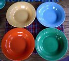 Vintage Fiesta Rimmed Soup Bowls  ~ RED MEDIUM GREEN YELLOW TURQUOISE ~ Set of 4