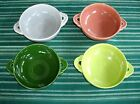 Vintage Fiesta Cream Soup Bowls ~ 1950's Chartreuse Rose Gray Forest Green ~ 4