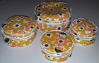 CHINA STORAGE CASE 4pc SET 1970s VINTAGE PLATE SAVER PADDED VINYL RETRO FLORAL