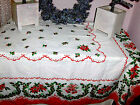 Vintage Classic Christmas Poinsettia Holly  Bells Tablecloth 60 x 80