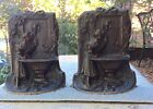 Antique Art Deco Solid Bronze Bookends Girl At Fountain