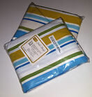 SEARS TWIN FITTED SHEET PAIR VINTAGE 1973 MUSLIN NEW OLD STOCK GALA STRIPE