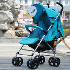 C03 Single Baby Blue Fabric + Aluminum Alloy Collapsible 8 Wheels Strollers