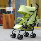 06 Baby Green Fabric + Aluminum Alloy Collapsible 8 Wheels Umbrella Strollers