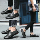 Men Board Shoes PU Leather Casual Flats Heel Slip On Breathable Shoes