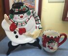 Fitz and Floyd Gift Gallery Holiday Mug and Plate Set Christmas Snowman