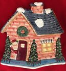 FITZ and FLOYD Handcrafted Merry Christmas Santa House Hang Decor or Candy Dish