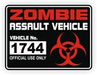Zombie Assault Vehicle License Jeep Decal  Sticker Apocalypse Hunting Permit