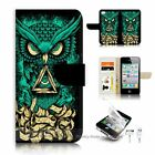 ( For iPhone 4 4S ) Flip Case Cover S9523 Tribal Owl