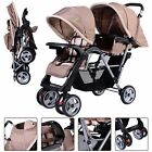 Foldable Twin Baby Double Stroller Jogger Travel Infant Pushchair Gray