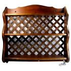 Vintage PLATE RACK Wall Shelf Solid Wood Lattice Back Towel Rack Bottom Handmade