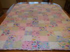 Handcrafted Baby Girl Flannel Crib Quilt Throw 36 x 48 Multi color Patchwork