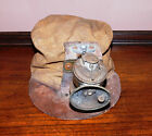 Early 1900s Cloth Miners Hat Cap Helmet with Guys Dropper Carbide Lamp