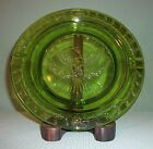 Vintage L. E. Smith Heritage Green American Eagle And Stars Glass Ashtray 9-1/4