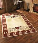 Hearts Stars County Home Decor Rug Sunlight Resistent Jute Backing Accent