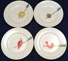 Set of 4 Crate and Barrel Nancy Green Appetizer Plates Olive Cheese Berry Shrimp