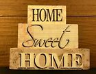HOME SWEET HOME Primitive Rustic Stacking Blocks Wooden Sign Set