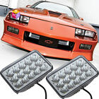 Pair LED Headlights Conversion Sealed Hi Low Beam for Chevy Camaro 1982 1992