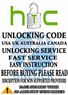 Unlock code HTC First One Mini M7 M8 M9 One X plus One VX V S 8X 8S Amaze Canada