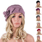 Womens Winter Warm Wrinkle Beret Wool Chic Trimmed Flower Beanie Hat A376
