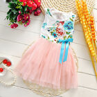 Floral Girls Princess Dress Kids Baby Party Summer Cotton Tulle Tutu Dresses New