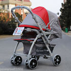 B15 Single Baby Red+Gray Fabric Collapsible Aluminum Alloy 6 Wheels Strollers