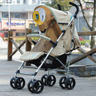 C04 Single Baby Apricot Fabric + Aluminum Alloy Collapsible 8 Wheels Strollers