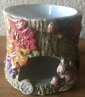 SWEET FITZ & FLOYD CERAMIC AUTUMN LEAVES SQUIRREL CANDLE HOLDER WARMER CUTE!