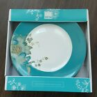 Brand New Set of 4 222 Fifth Eliza Teal Goes w/ Peacock Garden Dinner Plates